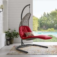 Modway Landscape Outdoor Patio Hanging Chaise Lounge Swing Chair in Red