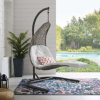 Modway Landscape Outdoor Patio Hanging Chaise Lounge Swing Chair in Grey/White