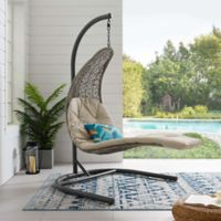 Modway Landscape Outdoor Patio Hanging Chaise Lounge Swing Chair in Light Grey/Red