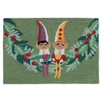 Liora Manne Festive Elves 1'8 x 2'6 Indoor/Outdoor Accent Rug in Green