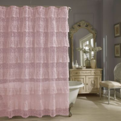 Priscilla Lace Shower Curtain In Pink