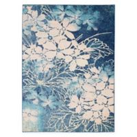 Nourison™ Tranquil Flowers 5'3 x 7'3 Area Rug in Navy/Pink