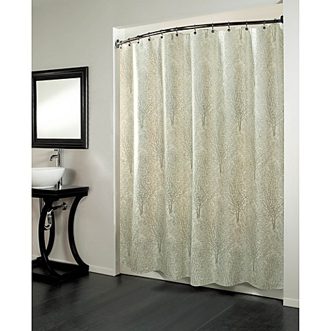 Forest 70 Inch x 72 Fabric Metallic Print Shower Curtain