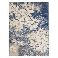 Nourison™ Tranquil Flowers 5'3 x 7'3 Area Rug in Beige/Navy
