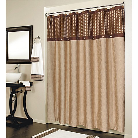 Fresno Brown Pieced Shower Curtain Bed Bath Amp Beyond
