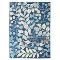 Nourison™ Tranquil Leaves 5'3 x 7'3 Area Rug in Navy
