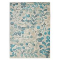 Nourison™ Tranquil Leaves 5'3 x 7'3 Area Rug in Ivory/Turquoise