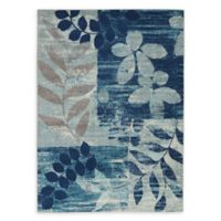 Nourison™ Tranquil Leaves 5'3 x 7'3 Area Rug in Navy/Light Blue