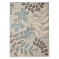 Nourison™ Tranquil Leaves 5'3 x 7'3 Area Rug in Ivory/Light Blue