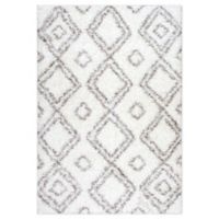 nuLOOM Diamond 3'2 x 5' Shag Area Rug in White