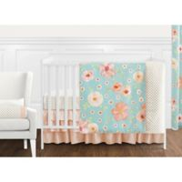 Sweet Jojo Designs Watercolor Floral 11-Piece Crib Bedding Set in Turquoise