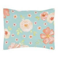 Sweet Jojo Designs Watercolor Floral Standard Pillow Sham in Turquoise