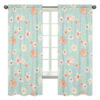 Sweet Jojo Designs Watercolor Floral 84-Inch Window Curtain Panels (Set of 2)