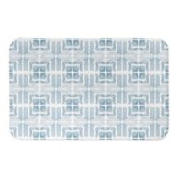"Designs Direct Tiled Shibori 21"" x 34"" Bath Mat in Blue"