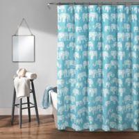 Lush Décor Elephant Parade Shower Curtain in Aqua