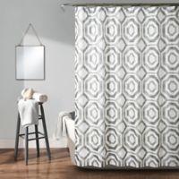 Lush Décor Octagon Blocks Shower Curtain in Grey