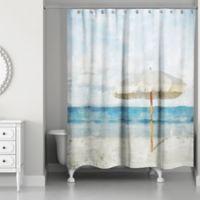 Designs Direct Beach Umbrella Shower Curtain in Blue