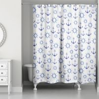 Designs Direct Nautical Anchors Shower Curtain in Blue/White