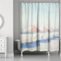"Designs Direct ""Beach Umbrellas"" Shower Curtain in Blush"