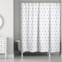 Designs Direct Navy Coastal Pattern Shower Curtain in Blue