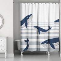 Designs Direct Nautical Whale Shower Curtain in Blue