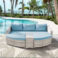 Athens 4-Piece Patio Daybed Set in White Wash with Air Blue Cushions