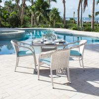 Athens 5-Piece Stackable Patio Armchair Dining Set in White Wash with Air Blue Cushions