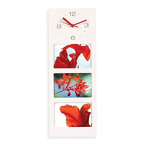 nexxt™ Davi White Wall Clock with 3-Opening Picture Frame