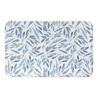 Designs Direct 21-Inch x 34-Inch Watercolor Leaves Bath Mat in Blue