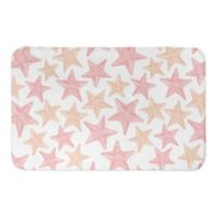 "Designs Direct 21"" x 34"" Coral Starfish Pattern Bath Mat in Pink"