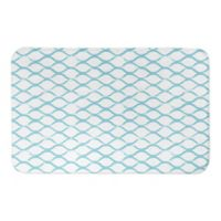 "Designs Direct 21"" x 34"" Teal Fishnet Pattern Bath Mat in Blue"