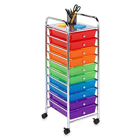 honey can do steel 10 drawer rolling storage cart bed bath beyond. Black Bedroom Furniture Sets. Home Design Ideas