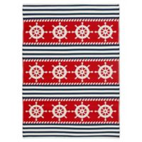 Patio Mats 2019 6' x 9' Flat-weave Area Rug in Blue/Ruby