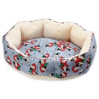 Petique Frenchies Small Round Pet Bed in Blue