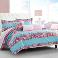 Betsey Johnson® Banded Floral Twin Comforter Bonus Set in Turquoise
