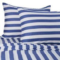 Pure Beech® Jersey Knit Modal Stripe Full XL Sheet Set in Navy