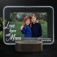 Love Begins With Mom Personalized Light Up Glass LED Horizontal Picture Frame