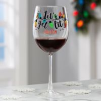 Let's Get Lit Personalized Christmas White Wine Glass