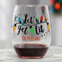 Let's Get Lit Personalized Christmas Stemless Wine Glass