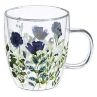 Evergreen Flowers Double Wall Glass Cafa Cup