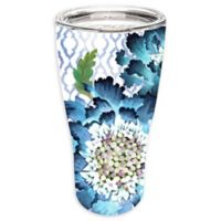 Evergreen Blooming Blue Double Wall Stainless Steel Travel Mug