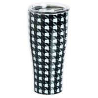 Evergreen Houndstooth Double Wall Stainless Steel Travel Mug