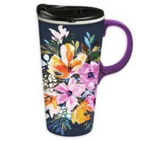 Evergreen Watercolor Boho Ceramic Travel Cup