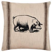C&F Home™ Pig Feed Sack Square Throw Pillow in Brown