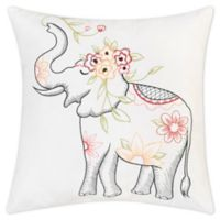 C&F Home™ Tropical Elephant Embroidered Square Indoor/Outdoor Throw Pillow in White