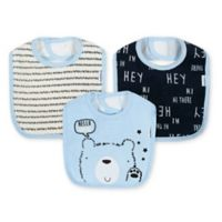 Gerber® 3-Pack Terry Blend Bear Bibs in Blue