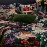 Fiori Full/Queen Duvet Cover Set in Black