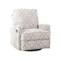 Abbyson Living Lily Swivel Glider Recliner in Grey Floral