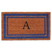 "Home & More Border Monogram Letter ""A"" 24-Inch x 36-Inch Door Mat in Blue"