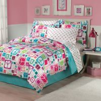Peace Out 7-Piece Full Comforter Set in Teal